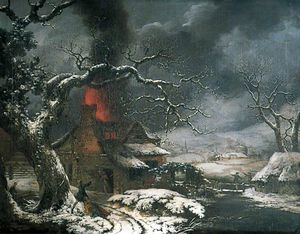 George Smith - Wintry Scene With A Burning Cottage In The Foreground