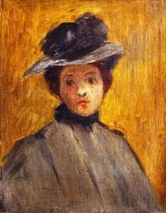 George Van Millett - Lady In A Brown Hat
