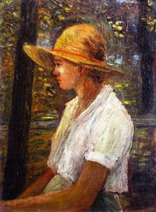 George Van Millett - Young Girl Straw Hat