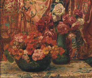 Georges Antoine Rochegrosse - Red Flowers Amongst Drapery