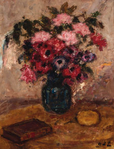 Georges Despagnat - Roses And Anemonies In A Vase On A Table