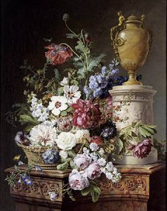 Gerard Van Spaendonck - Still-life With Flowers And Insects On Marble Plinth