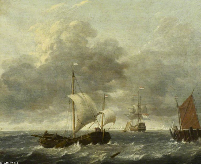 A Fishing Pink Running Past A Jetty by Gerrit Van Battem (1636-1684, Netherlands)