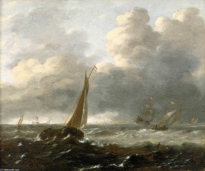 Shipping In A Stormy Sea by Gerrit Van Battem (1636-1684, Netherlands)