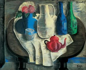 Geza Bene - Still Life With A Red Teapot