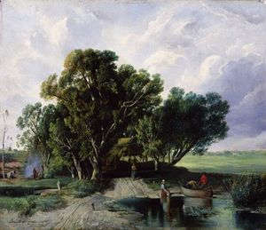 Geza Meszoly - Peasants By A Lake