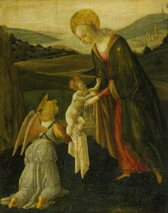 Buy Museum Art Reproductions | The Madonna And Child With An Angel In A Coastal Landscape by Gherardo Del Fora (1445-1497, Italy) | WahooArt.com