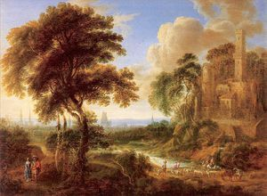 Gilles Neyts - Landscape With A Castle And Town In The Distance