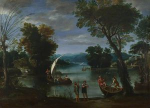 Giovan Battista Viola - Landscape With A River And Boats
