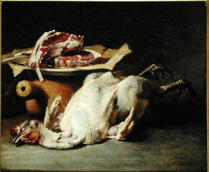 Guillaume Romain Fouace - Still Life Of A Chicken And Cutlets