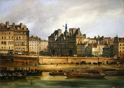 Hotel De Ville And Embankment, Paris,, 1828 by Guiseppe Canella (1788-1847, Italy)