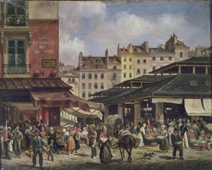 View Of The Market At Les Halles, C., 1828 by Guiseppe Canella (1788-1847, Italy)