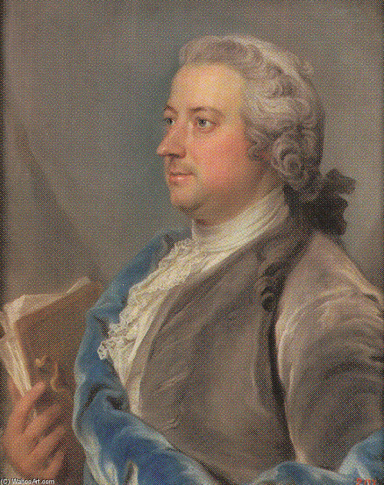 Portrait Of Carl Gustaf Tessin by Gustaf Lundberg (1695-1786, Sweden) | Famous Paintings Reproductions | WahooArt.com
