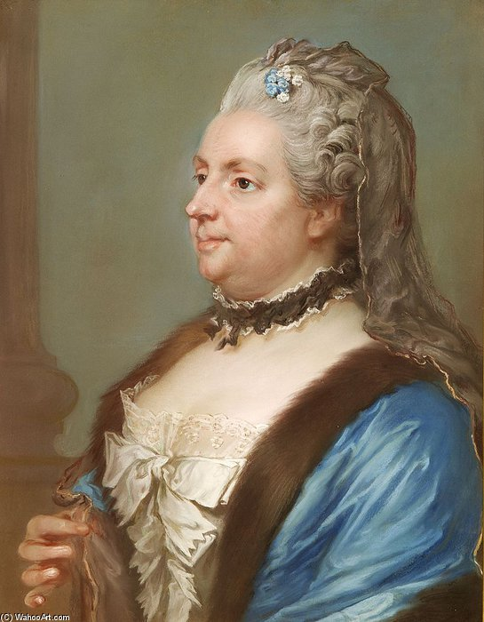 Portrait Of Catharina Charlotta Ribbing by Gustaf Lundberg (1695-1786, Sweden) | Painting Copy | WahooArt.com