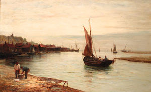 Gustave De Breanski - An Essex Fishing Village