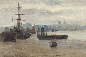 Gustave De Breanski - Beached Ships With A Townscape In The Distance