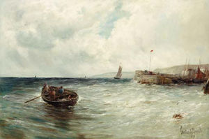 Gustave De Breanski - Fishing Boats Off A Jetty