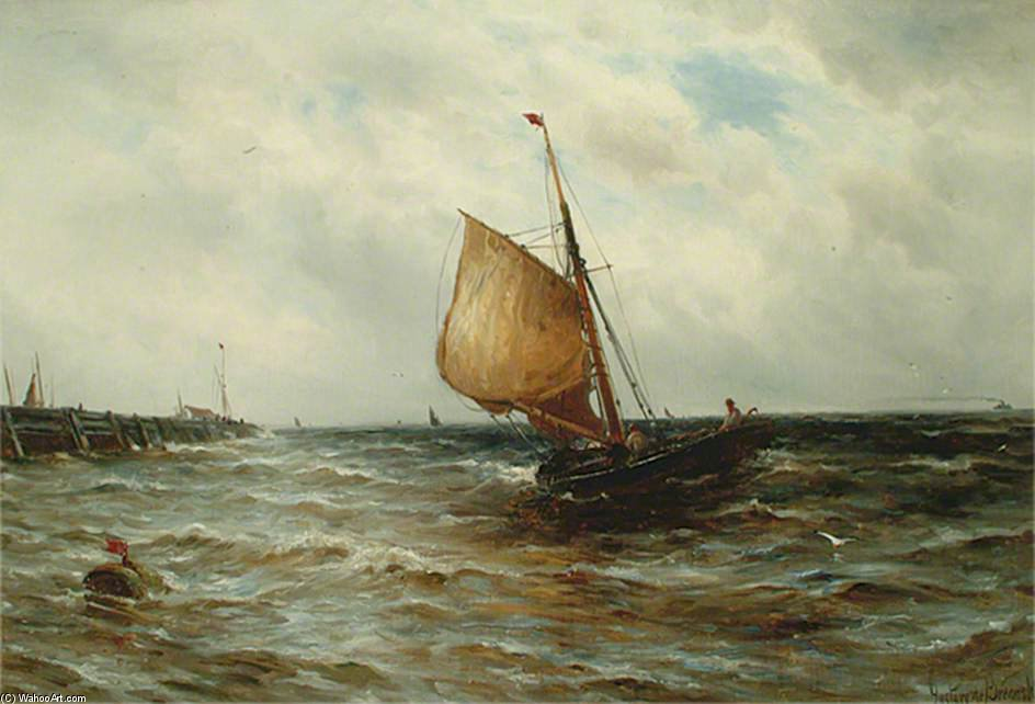 Order Art Reproductions | Seascape With A Fishing Boat by Gustave De Breanski (1856-1898, United Kingdom) | WahooArt.com