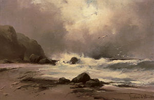 Order Reproductions | Waves Against A Beach by Gustave De Breanski (1856-1898, United Kingdom) | WahooArt.com