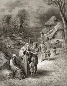 Paul Gustave Doré - Pilgrims Being Fed By Peasants