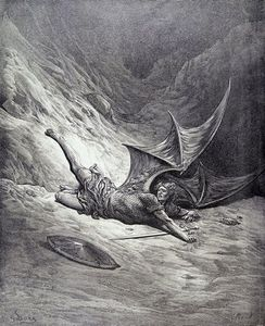 Paul Gustave Doré - Satan Smitten By Michael, From Book Vi Of -paradise...