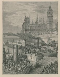 Order Oil Painting : Westminster Stairs - Steamers Leaving by Paul Gustave Doré (1832-1883, France) | WahooArt.com