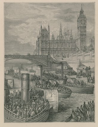 Westminster Stairs - Steamers Leaving by Paul Gustave Doré (1832-1883, France) | WahooArt.com