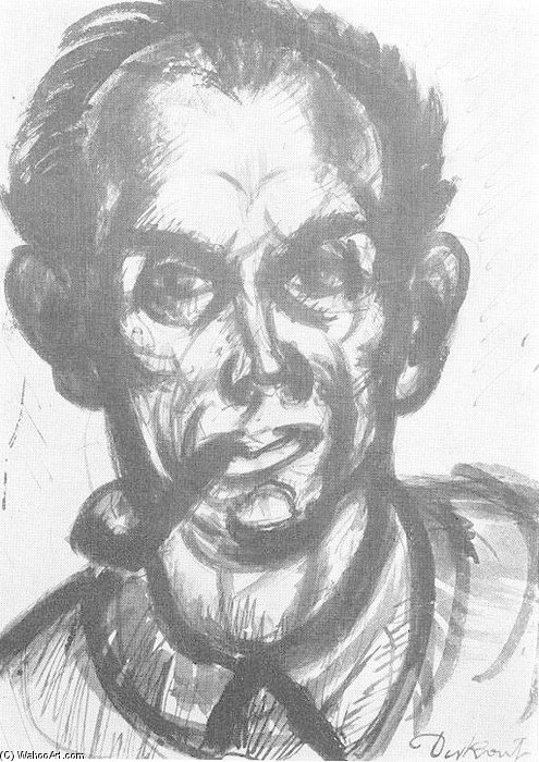 Self-portrait With Pipe by Gyula Derkovits (1894-1934, Hungary)