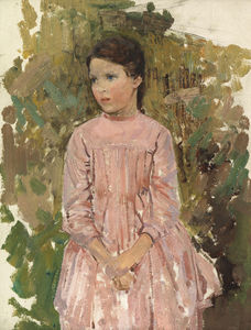 Harry Watson - Study Of A Young Girl In A Pink Dress -
