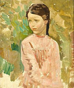 Harry Watson - Study Of A Young Girl In A Pink Dress