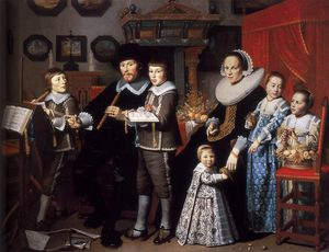 Hendrick Cornelisz Van Vliet - Portrait Of Michiel Van Der Dussen And His Family