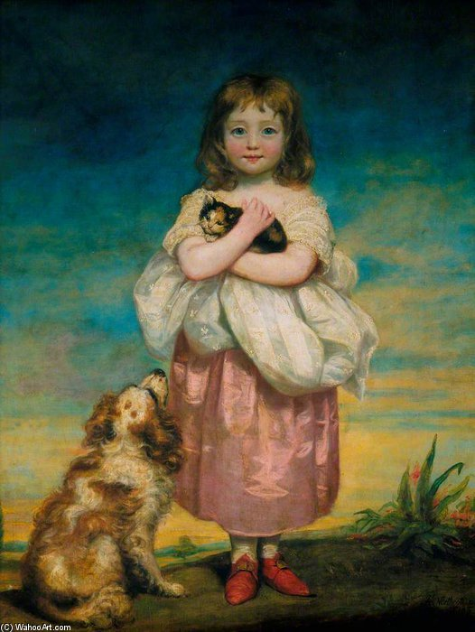 A Little Girl Nursing A Kitten by James Northcote (1746-1831, United Kingdom) | Art Reproductions James Northcote | WahooArt.com