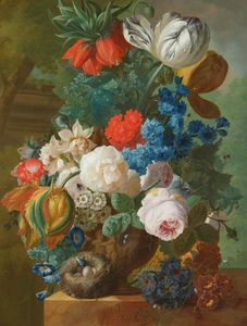 Jan Van Os - Roses, Tulips And Crown Imperial In A Vase With A Bird-s Nest