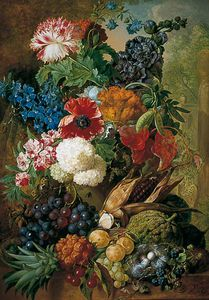 Jan Van Os - Still Life Of Fruit And Flowers With Bird's Nest On A Marble Ledge