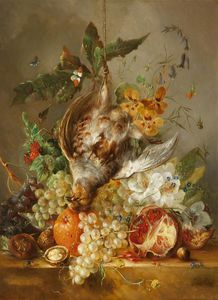 Jan Van Os - Still Life With Dead Bird, Fruit And Flowers