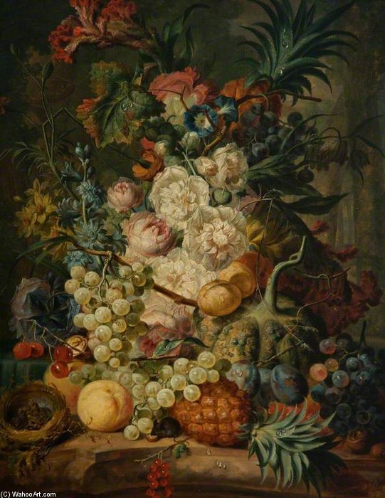 Still Life With Fruit And Flowers by Jan Van Os (1744-1808, Netherlands) | Paintings Reproductions Jan Van Os | WahooArt.com