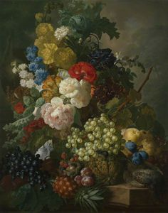 Jan Van Os - Still Life With Roses, Larkspur And Fruit, With A Partridge