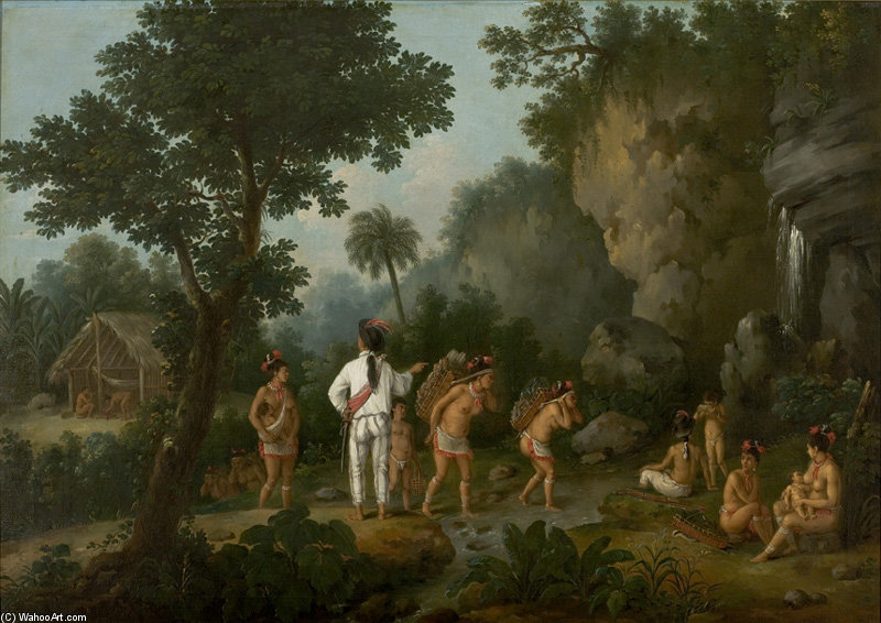 Order Oil Painting : Indians Crossing A Creek by Jean Baptiste Debret (1768-1848, France) | WahooArt.com