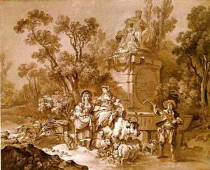 Jean Baptiste Huet - Shepherdesses And Musician Sitting Beside A Monument