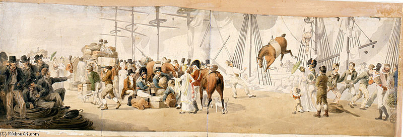 Embarking Troops In Margate by John Augustus Atkinson (1775-1833, United Kingdom) | Famous Paintings Reproductions | WahooArt.com