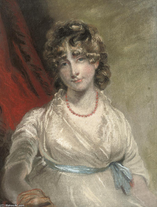 Portrait Of Mrs Arabella Bouverié, Half-length, With A Blue Ribbon by John Raphael Smith (1752-1812, United Kingdom) | Art Reproductions John Raphael Smith | WahooArt.com
