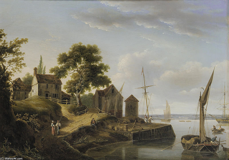 A Riverside Hamlet by John Thomas Serres (1759-1825, United Kingdom)