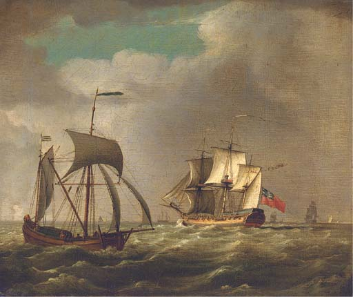 Order Museum Quality Reproductions : An Outward-bound Frigate by John Thomas Serres (1759-1825, United Kingdom) | WahooArt.com