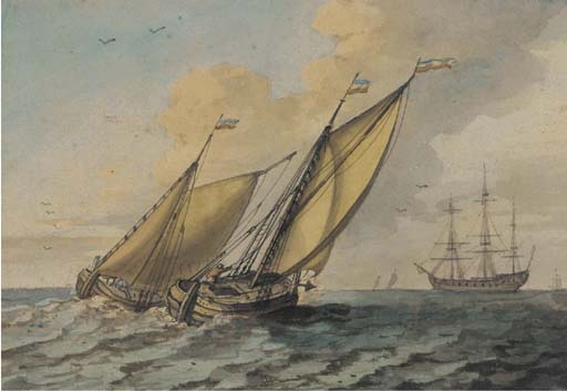 Barges Running Out To Meet The New Arrival by John Thomas Serres (1759-1825, United Kingdom)