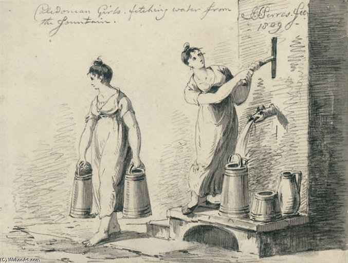 Caledonian Girls Fetching Water From The Fountain by John Thomas Serres (1759-1825, United Kingdom)