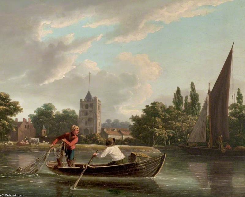 Fishing Boat At Fulham by John Thomas Serres (1759-1825, United Kingdom)