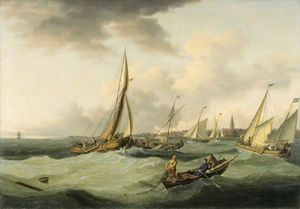 John Thomas Serres - Fishing Boats In A Breeze Off Great Yarmouth