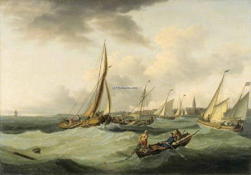 Fishing Boats In A Breeze Off Great Yarmouth by John Thomas Serres (1759-1825, United Kingdom)