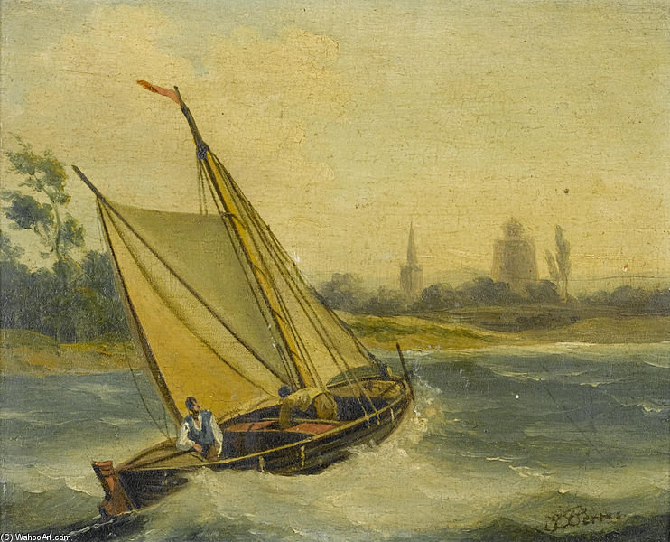 H.M.S. Thisbe Running Down The Channel Under Reduced Sail - by John Thomas Serres (1759-1825, United Kingdom)