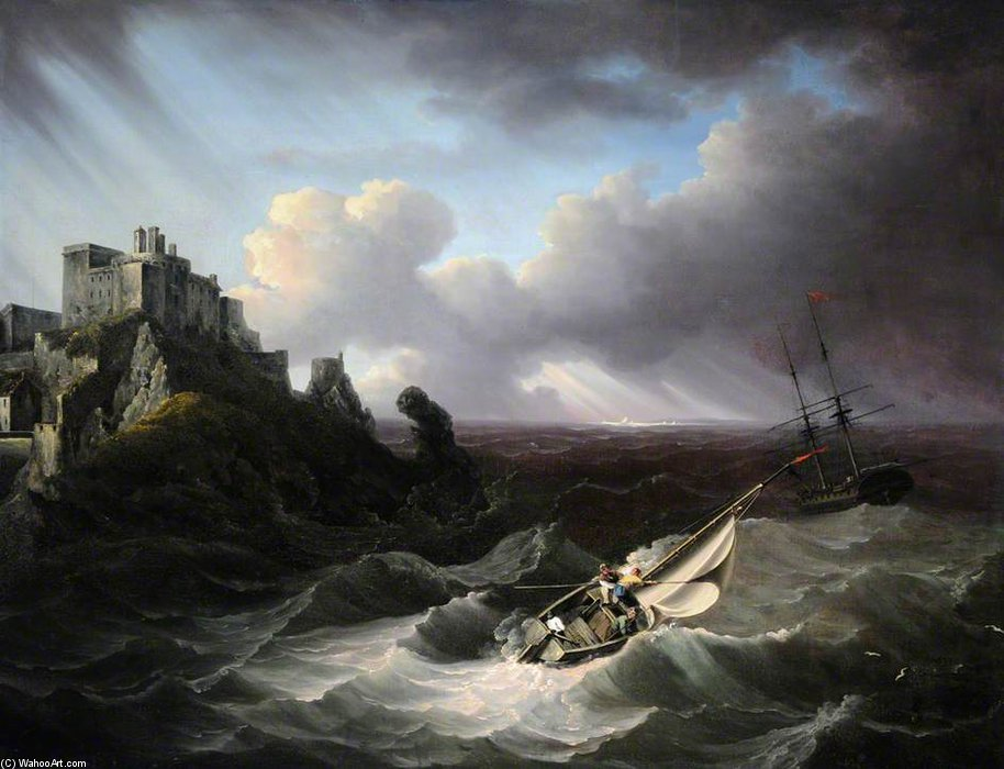Man O' War Off Mont Orgueil Castle by John Thomas Serres (1759-1825, United Kingdom)